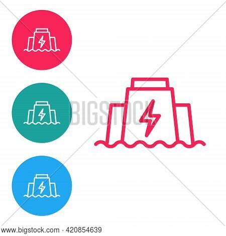 Red Line Hydroelectric Dam Icon Isolated On White Background. Water Energy Plant. Hydropower. Hydroe
