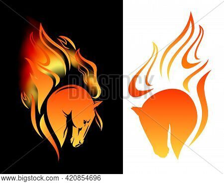 Wild Mustang Horse And Burning Flames - Stallion Head With Fiery Mane Vector Design Set