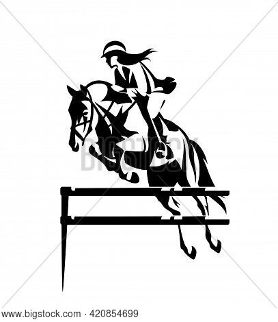 Beautiful Woman Riding Horse During Show Jumping Competition - Equestrian Sport Black And White Vect