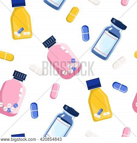 Seamless Pattern With Pills And Glass Vials.vitamin Complex And Healthcare.keep Calm And Drink Sedat