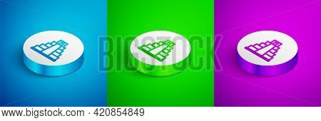 Isometric Line Chichen Itza In Mayan Icon Isolated On Blue, Green And Purple Background. Ancient May