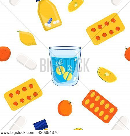 Ascorbic Acid Seamless Pattern.vitamin C Effervescent Tablet Dissolves In A Glass Of Water. .anti Ag