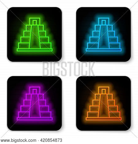 Glowing Neon Line Chichen Itza In Mayan Icon Isolated On White Background. Ancient Mayan Pyramid. Fa