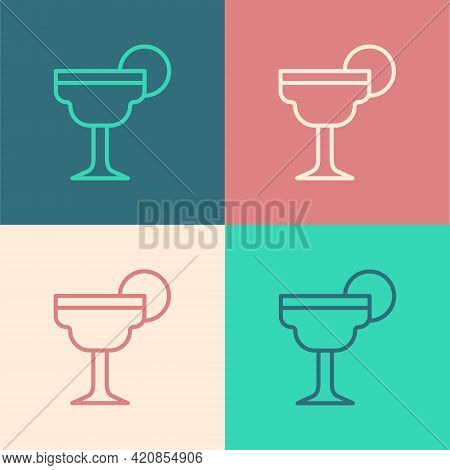 Pop Art Line Margarita Cocktail Glass With Lime Icon Isolated On Color Background. Vector
