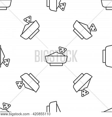 Grey Line Nachos In Bowl Icon Isolated Seamless Pattern On White Background. Tortilla Chips Or Nacho