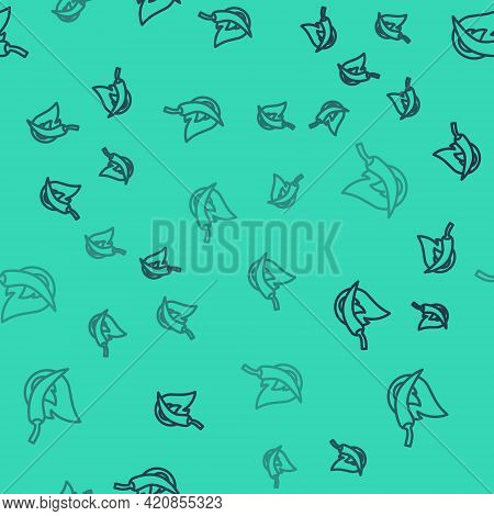 Black Line Hot Chili Pepper Pod Icon Isolated Seamless Pattern On Green Background. Design For Groce