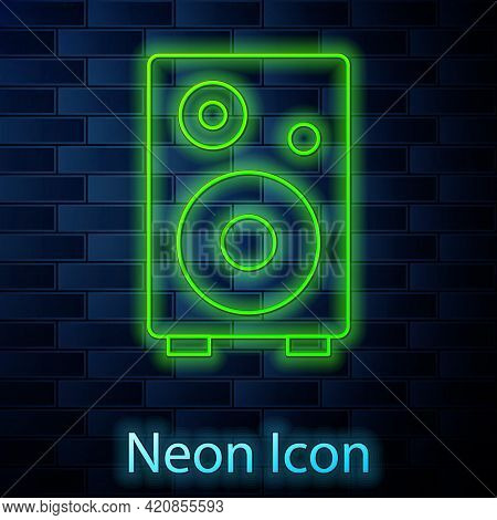 Glowing Neon Line Stereo Speaker Icon Isolated On Brick Wall Background. Sound System Speakers. Musi
