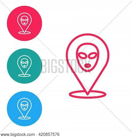 Red Line Alien Icon Isolated On White Background. Extraterrestrial Alien Face Or Head Symbol. Set Ic