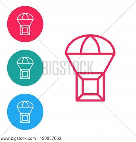 Red Line Box Flying On Parachute Icon Isolated On White Background. Parcel With Parachute For Shippi