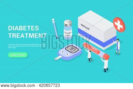 Diabetes Treatment Banner Concept. Measuring Blood Sugar With A Glucometer. Tiny People Carry A Test