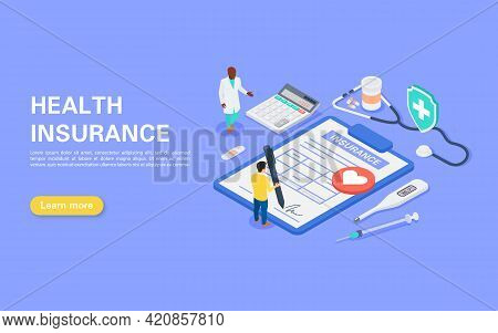 Medical Insurance Concept. Hospital Staff Tells The Young Man About Medical Insurance. A Man Signs A