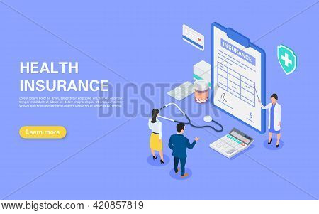 Medical Insurance Concept. Hospital Staff Tells A Young Couple About An Insurance Contract. A Set Of