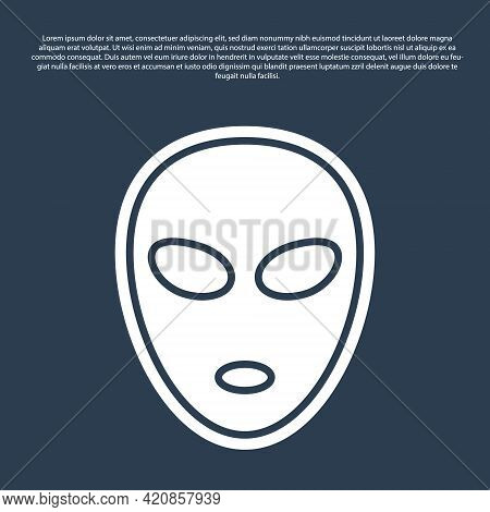 Blue Line Alien Icon Isolated On Blue Background. Extraterrestrial Alien Face Or Head Symbol. Vector