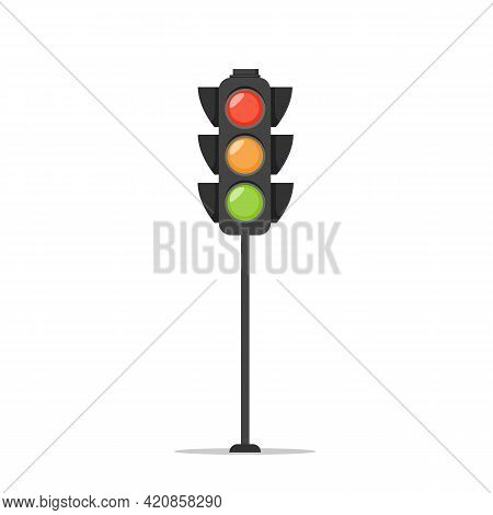 Traffic Light Isolated On White Background. Traffic Signal In Flat Style. Vector Stock