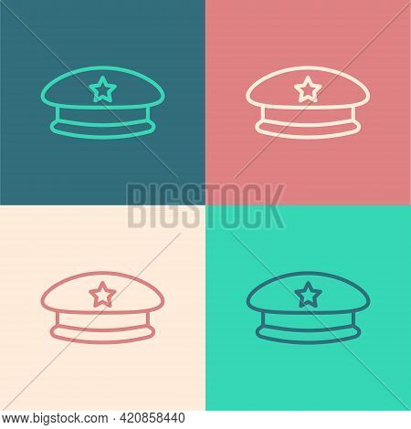Pop Art Line Military Beret Icon Isolated On Color Background. Soldiers Cap. Army Hat. War Baret. Ve