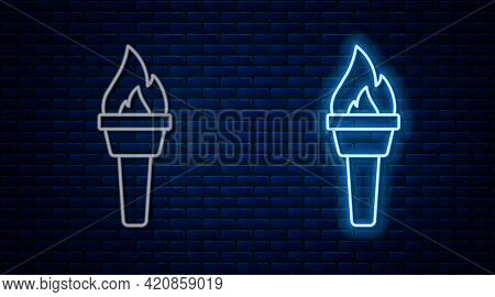 Glowing Neon Line Torch Flame Icon Isolated On Brick Wall Background. Symbol Fire Hot, Flame Power,