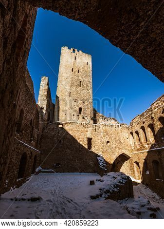 Mountain Landscape With The Ruins Of A Medieval Castle In The Vosges.
