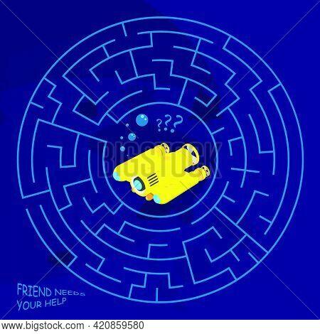 Children Games. Round Maze, Labyrinth. Underwater Adventures. Yellow Exploration Underwater Robot Is