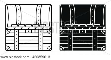 Square Icon Open Treasure Chest Inside. Gold Ingots In A Pirate Chest. Black And White Vector Vector