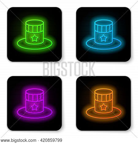 Glowing Neon Line Patriotic American Top Hat Icon Isolated On White Background. Uncle Sam Hat. Ameri