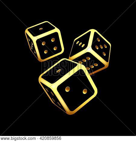Black And Gold Glowing Dice On Black Background