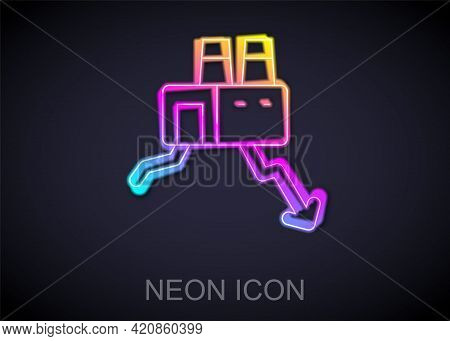 Glowing Neon Line Shutdown Of Factory Icon Isolated On Black Background. Industrial Building. Vector