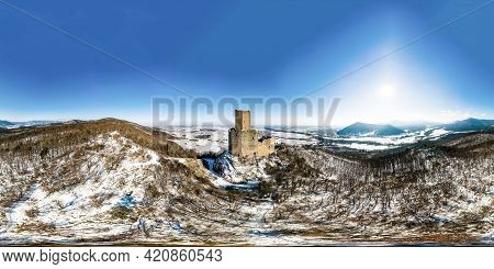 360-degree Panoramic View Of The Ortenburg Castle In The Vosges.