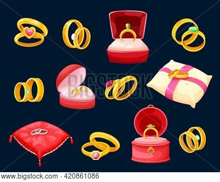 Wedding And Marriage Rings, Golden Jewelry Lying In Luxury Boxes Or Soft Pillows. Gold Vector Jewels