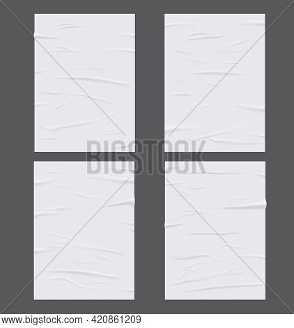 White Glued Wet Paper, Wrinkled And Crumpled Sheets. Vector Creased Posters With Corrugation Isolate