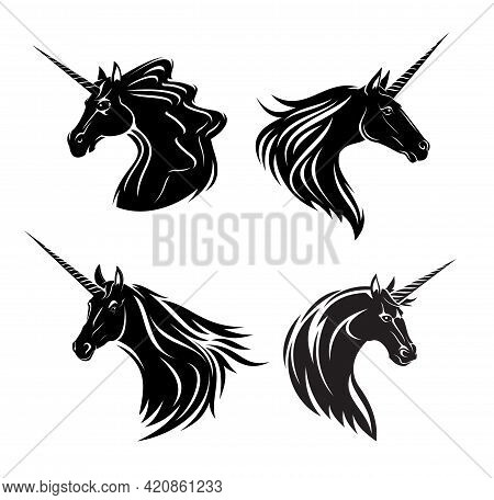 Unicorn Mare And Stallion Heads Print. Monochrome Vector Fantasy Animal, Fairy Horse With Horn And W