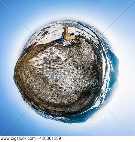 Little Planet Panoramic View Of The Ortenburg Castle In The Vosges.