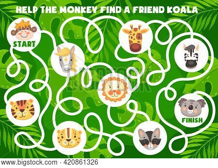 Funny Cartoon Animals. Kids Labyrinth Maze Game, Find A Friend Logical Game Or Riddle, Puzzle With F