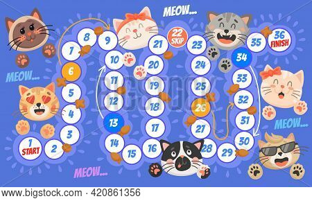 Cartoon Cat Kitten. Kids Board Game, Riddle Or Educational Activity, Roll And Move Boardgame Templat
