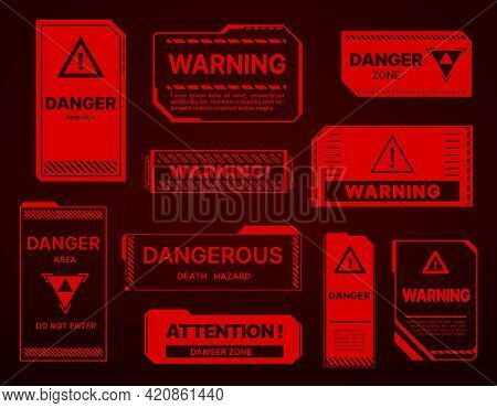 Hud Danger Zone, Warning And Alert Attention Red Signs. Vector Caution Keep Out, Death Hazard, Do No