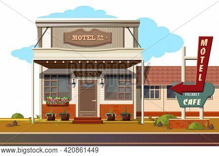 Cozy Motel And Roadside Cafe. Motel 24 Open, Vacancy Cafe. Vector Illustration