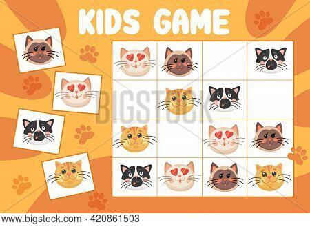 Sudoku Kids Game, Funny Cats Or Kittens Vector Riddle With Cartoon Characters On Chequered Board. Ed