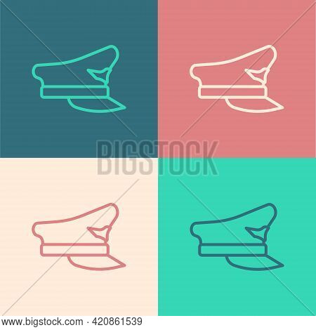 Pop Art Line Pilot Hat Icon Isolated On Color Background. Vector
