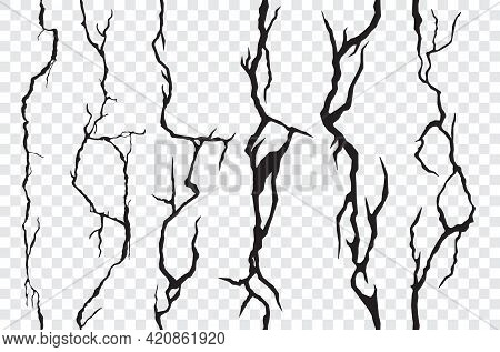 Seamless Cracks In The Wall, Plaster Or Ground. Broken Surface Texture, Cleft, Crackles. Vector Eart