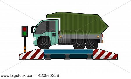 Cartoon Mini Truck Car On The Weighing Scale At The Checkpoint. Signal Light Indicating Green Light