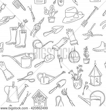 Gardening Equipment And Tools Seamless Pattern In Doodle Style. Hand Drawn Set For Planting And Seed