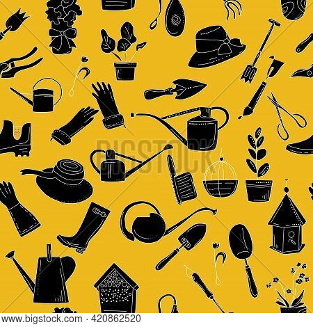 Gardening Equipment Seamless Pattern In Doodle Style. Hand Drawn Tools Silhouette Set For Planting A