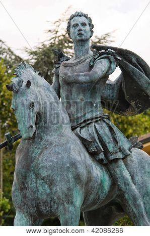 Statue of St. Antonino. Travo. Emilia-Romagna. Italy.
