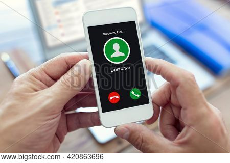 Incoming call with unknown number or caller ID on mobile phone
