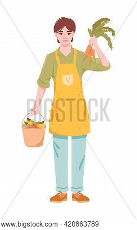 Cheerful Male Character Is Holding Vegan Products Carrots And Apples. Concept Of Healthy And Tasty V
