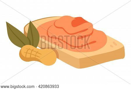 Sticker Of Little Cute Bread Slice With Organic Vegan Peanut Butter On White Background. Concept Of