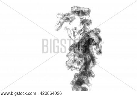 Perfect Mystical Curly Black Steam Or Smoke Isolated On White Background, Copy Space. Abstract Backg