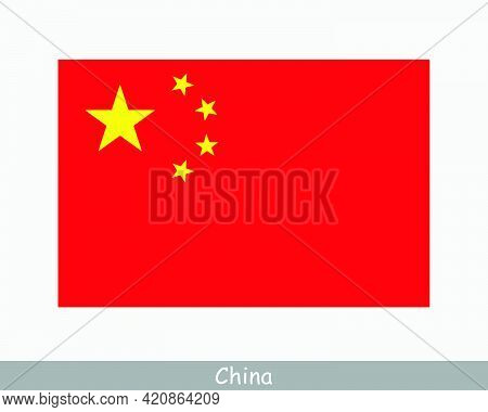 National Flag Of China. Chinese Country Flag. People's Republic Of China Detailed Banner. Eps Vector