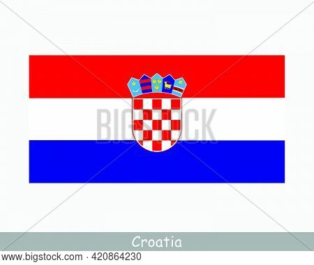 National Flag Of Croatia. Croatian Country Flag. Republic Of Croatia Detailed Banner. Eps Vector Ill