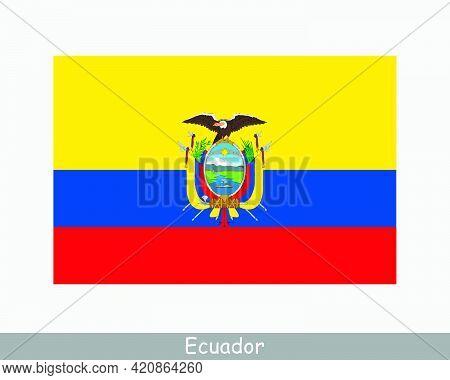 National Flag Of Ecuador. Ecuadorian Country Flag. Republic Of Ecuador Detailed Banner. Eps Vector I