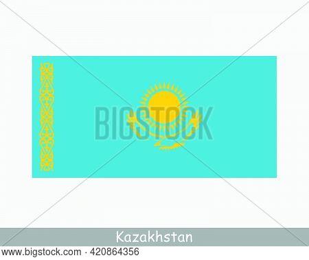 National Flag Of Kazakhstan. Kazakhstani Country Flag. Republic Of Kazakhstan Detailed Banner. Eps V